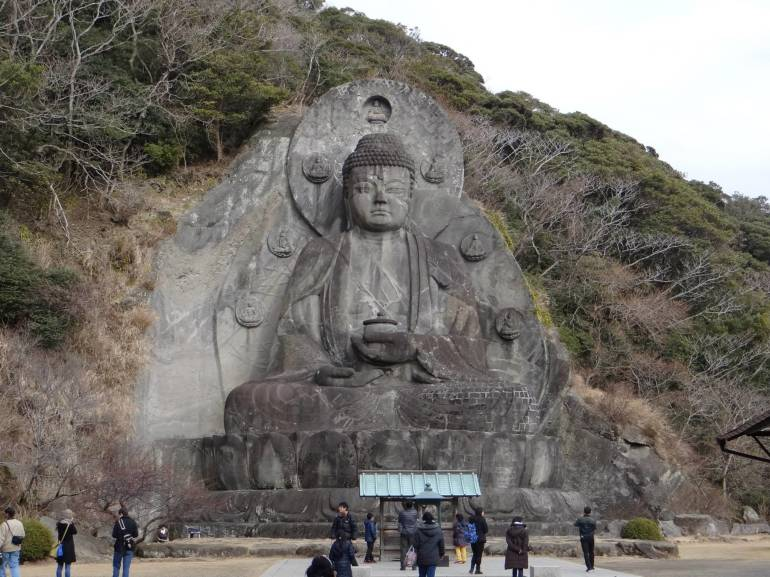 Standing at 31m, this is the largest stone Buddha in Japan.