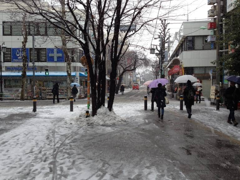 North exit of Seijogakuenmae Station on a snowy day