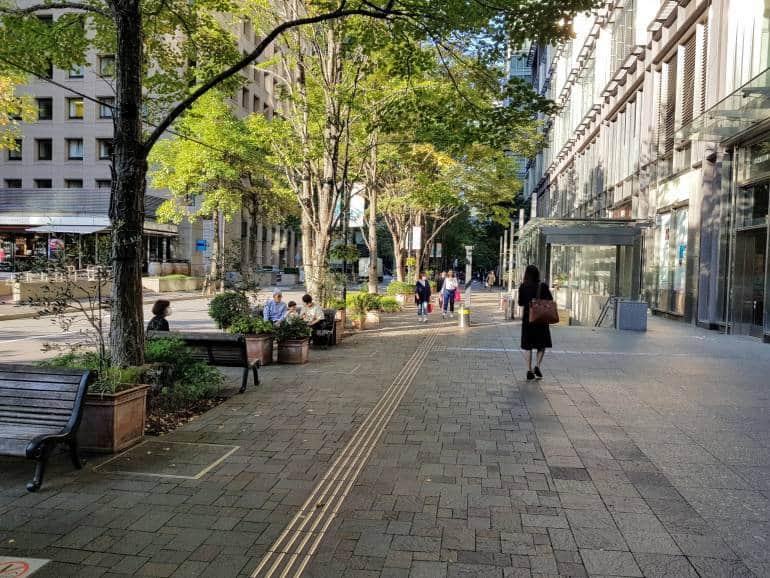 Woman strolling under trees, Naka Dori Marunouchi